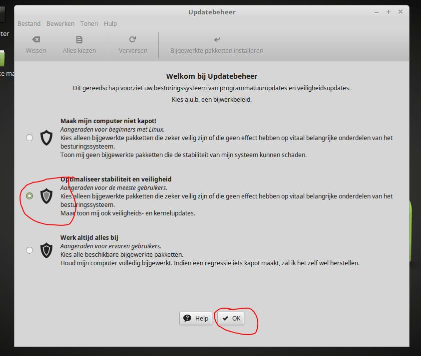 linux mint update settings
