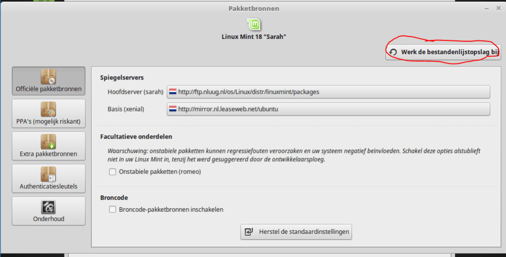 linux mint nearby update servers