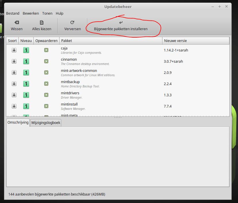 linux mint update start