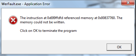 werfault foutmelding exe error memory