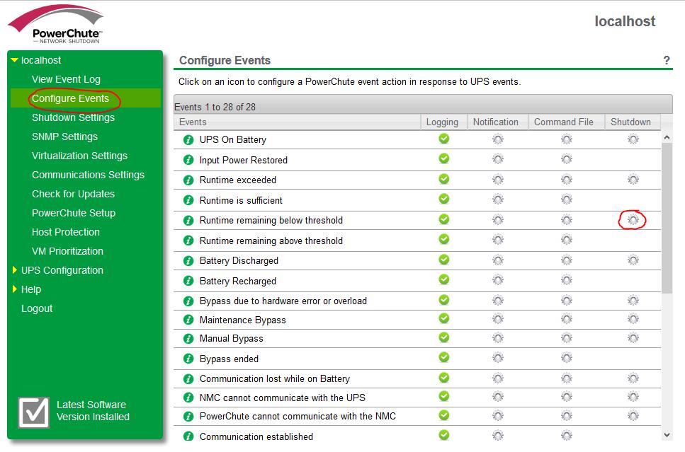 PowerChute settings 1