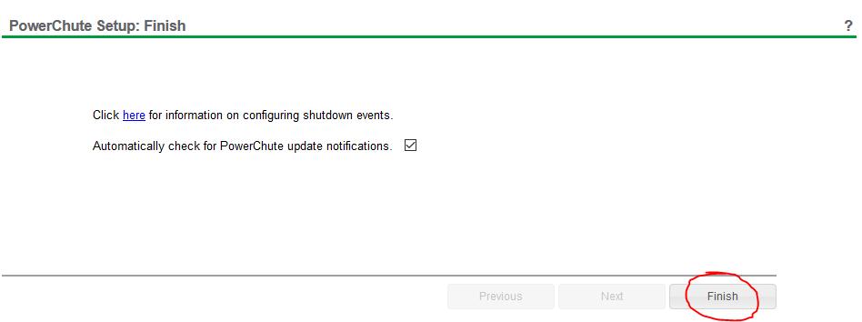 powerchute network shutdown setup 17