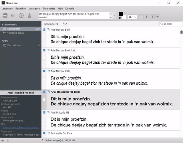 lettertypes beheren in Windows 12