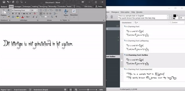 lettertypes beheren in Windows 14