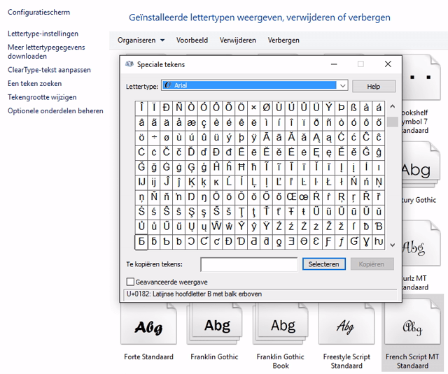 lettertypes beheren in Windows 3