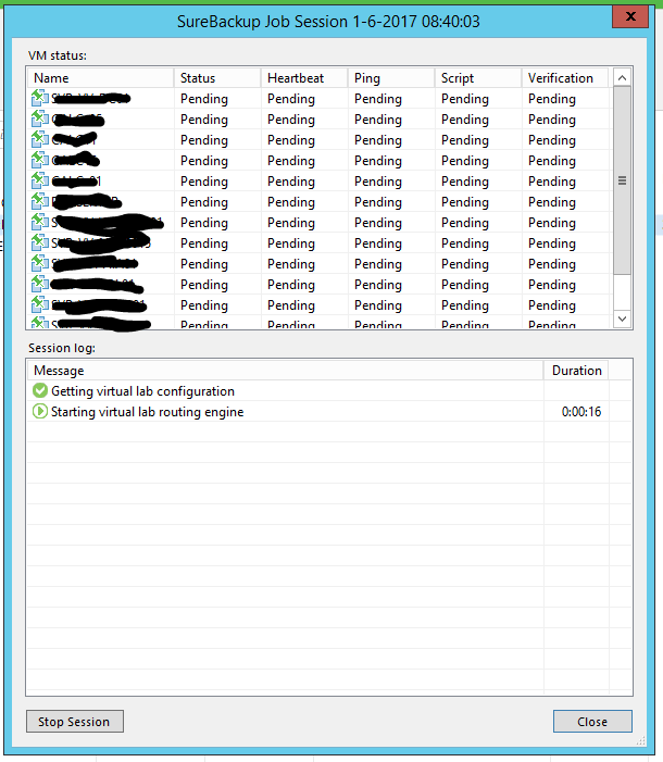 Veeam surebackup backup running 01