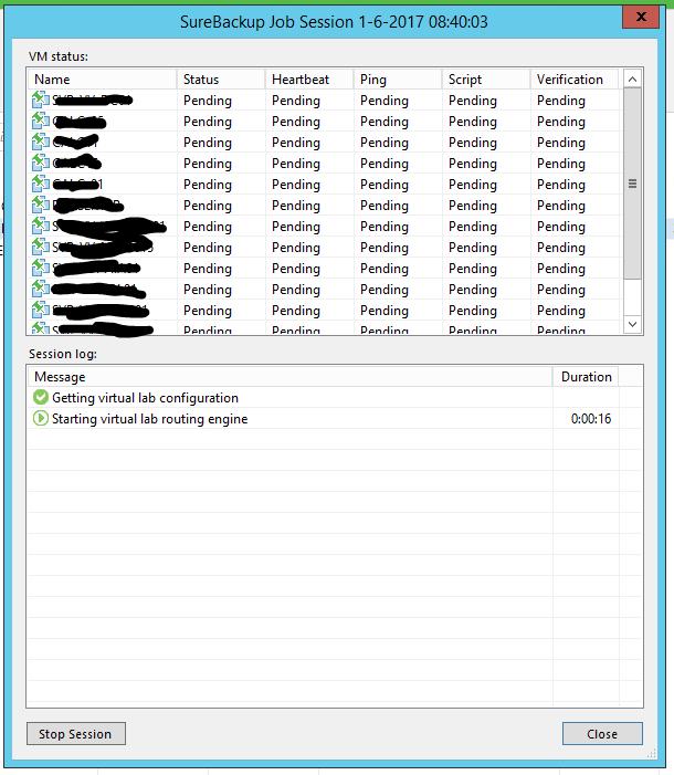 Veeam surebackup backup running 01