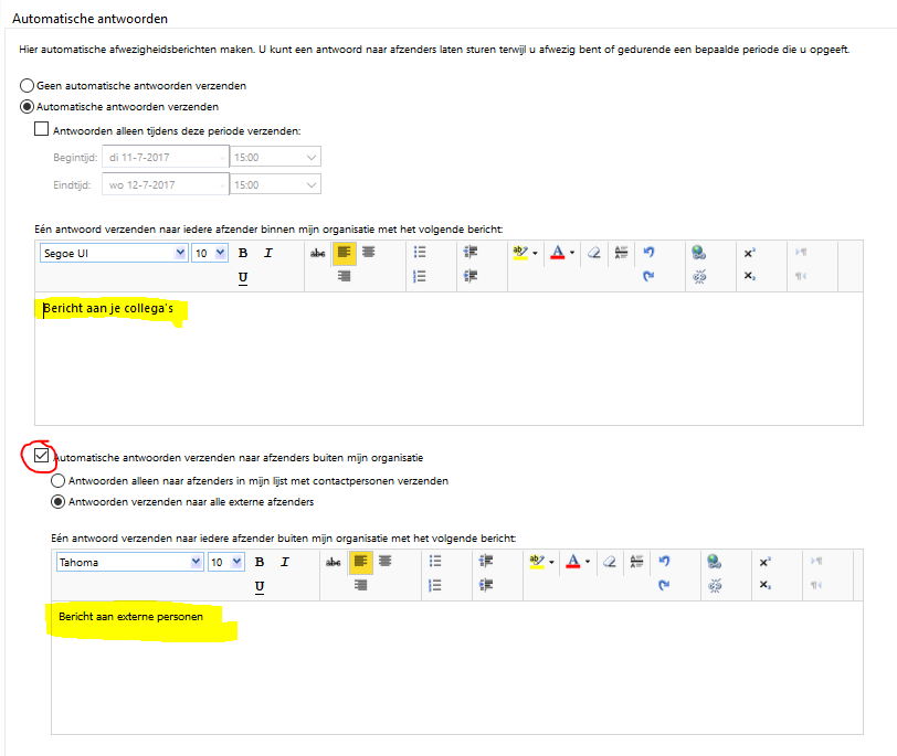 Afwezigheidsbericht instellen via owa 04
