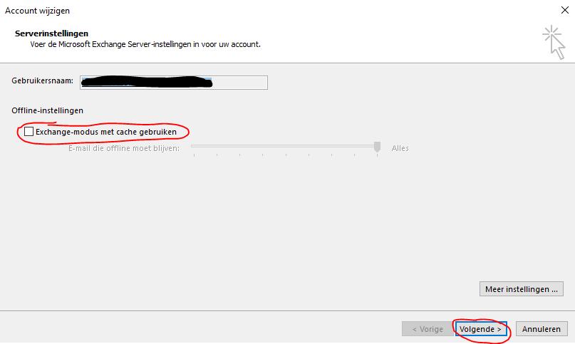 Outlook Cache uitschakelen 03