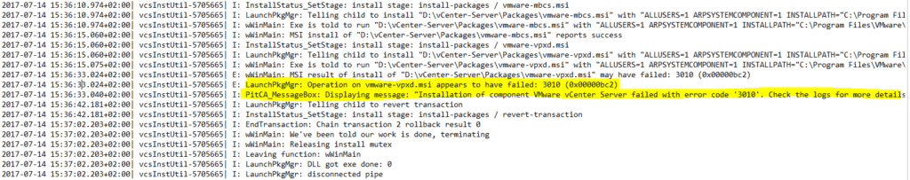 vmware upgrade failing with error 02