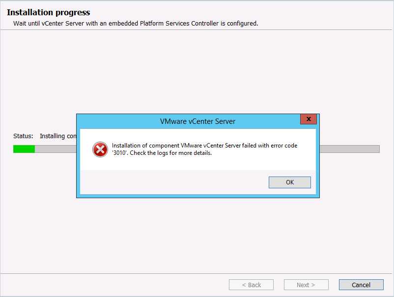 vmware upgrade failing with error 06