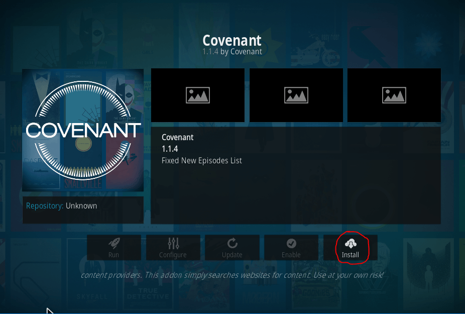 Covenant installeren in Kodi 20