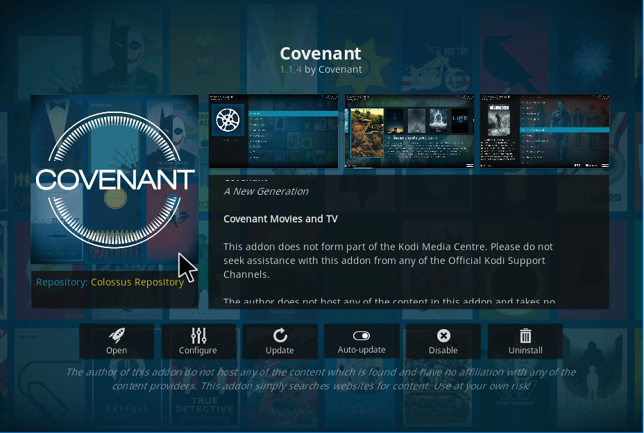 Covenant installeren in Kodi 24
