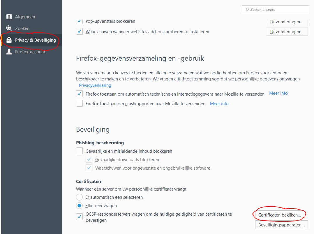 Protime Certificaat installeren Firefox 03