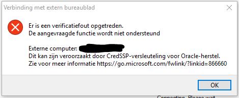 rdp werkt niet na windows mei update 01