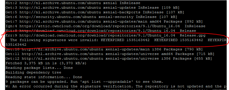 Ubuntu Expired Key vernieuwen met APT 01