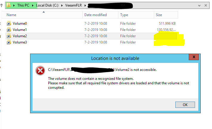 Veeam ReFS restore fail 01