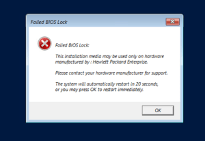 HPE ROK VM Installatie Failed BIOS Lock